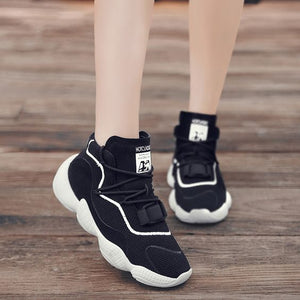 Chic High Top Breathable Dad Sneaker Shoes - Abershoes