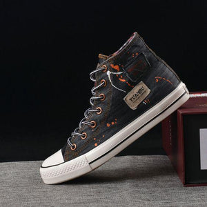 Men's Trendy High Top Denim Canvas Shoes - Abershoes