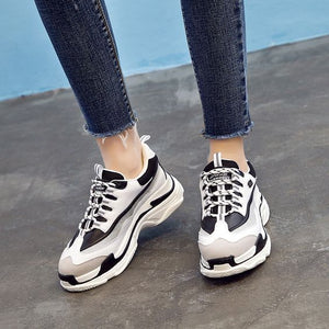 Classical Black White Block Sneaker Shoes - Abershoes