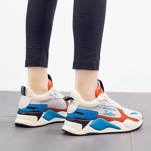 Trendy Color Block Leather Sneaker Shoes - Abershoes