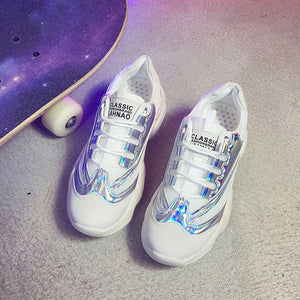 Sequins Mesh Breathable Dad Sneaker Shoes - Abershoes