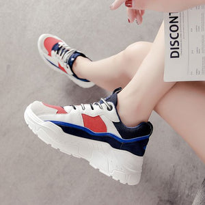 Women's Color Block Mesh Breathable Sneaker Shoes - Abershoes