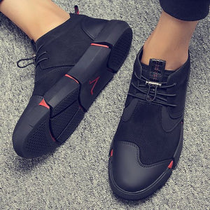 Men's Trendy British Style Black Leather Shoes - Abershoes