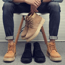 Load image into Gallery viewer, High Top Khaki/Black Leather Martin Boots - Abershoes