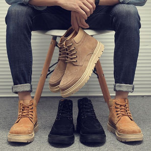 High Top Khaki/Black Leather Martin Boots - Abershoes
