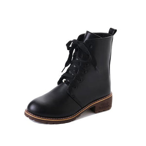 Black Cross Strap Flat Martin Boots - Abershoes