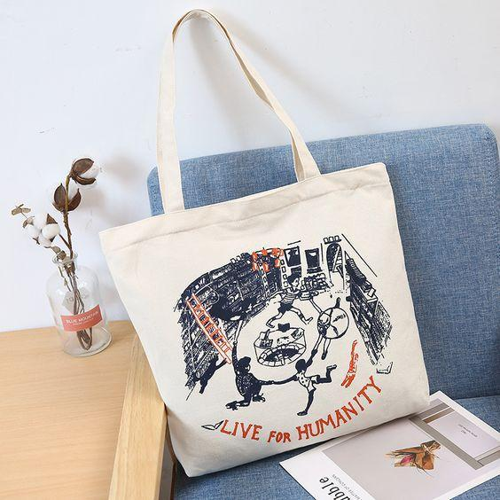 Floral Print Student Style Tote Bag - Abershoes