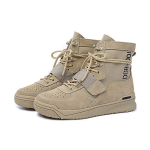 Women's Trendy High Top Leather Martin Boots - Abershoes