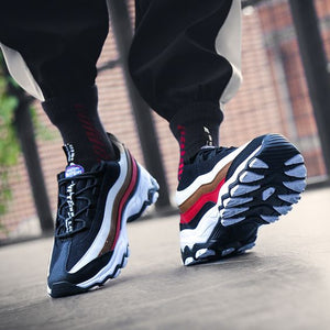 Men's Striped Color Block Sneaker Shoes - Abershoes