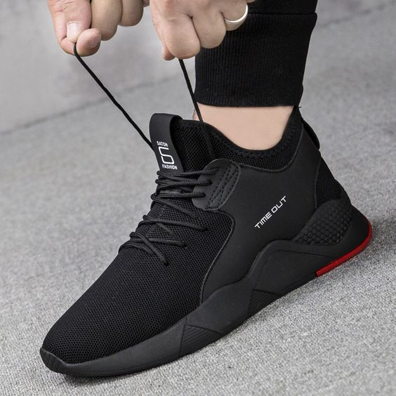 Men's Black Breathable Sneaker Shoes - Abershoes