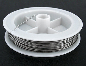 0.35mm Tiger Tail Wire Spool, Stainless Wire, Approx 50 mtrs - Light Grey
