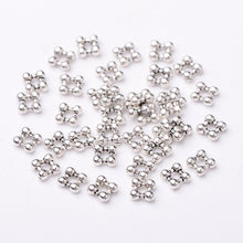 Load image into Gallery viewer, Pack of 40 Tibetan Style Square Antique Silver Flower Spacer Beads