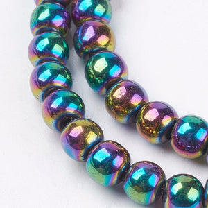 Strand Of 45+ Rainbow Hematite (Non Magnetic) 8mm Plain Round Beads