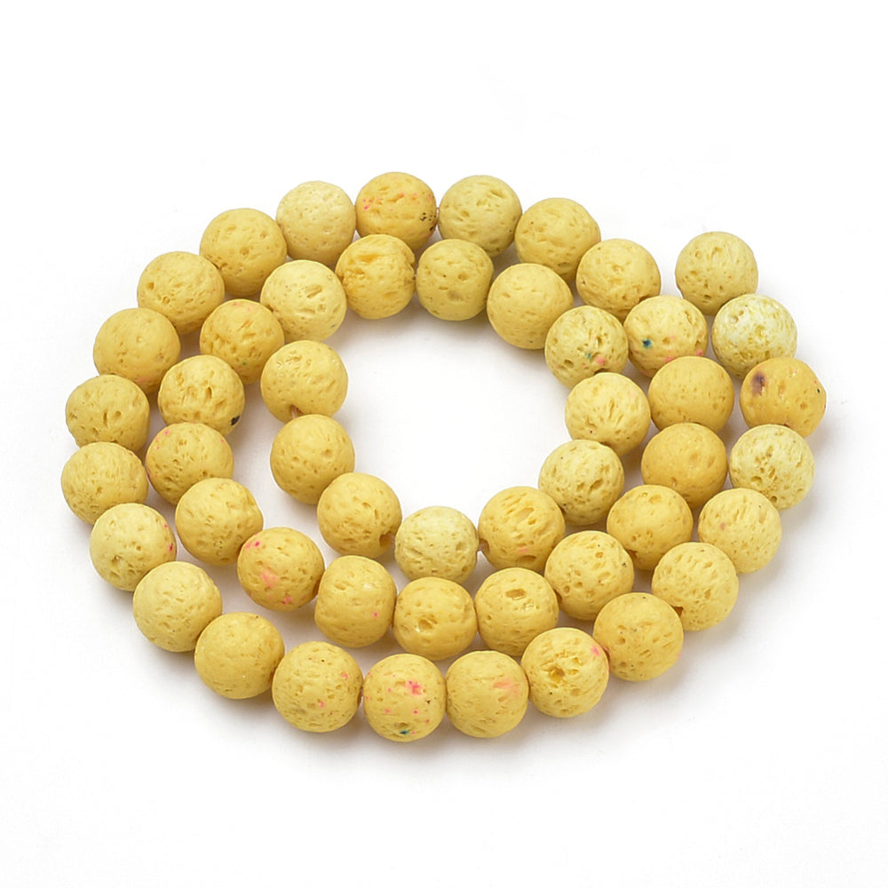Natural Yellow Lava Beads Loose Beads Round 6mm