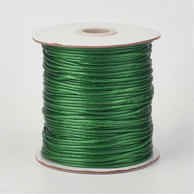 1 x Dark Green Waxed Polyester 10 Metre x 1mm Thong Cord