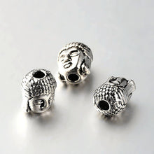 Load image into Gallery viewer, Packet of 5 x Antique Silver Tibetan 8 x 10mm Buddha Head Beads