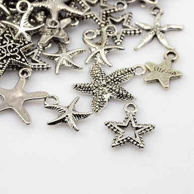 Pack 30 Grams Antique Silver Tibetan Random Shapes & Sizes Charms (STAR)