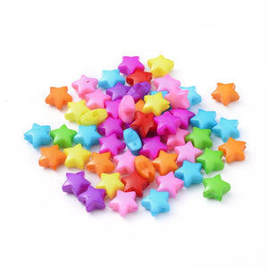 Packet 150+ Mixed Acrylic 12mm Puffy Star Beads