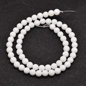 Strand of 45+ White Mashan Jade 8mm Plain Round Beads