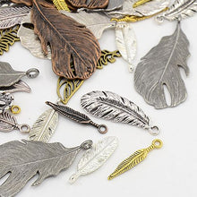 Load image into Gallery viewer, 30 Grams Mixed Tibetan Random Shapes & Sizes charms pendants (Feather)
