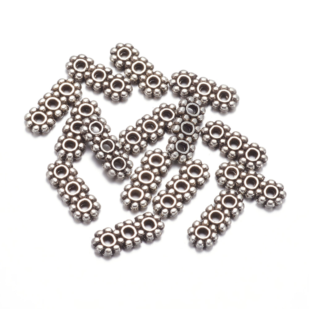 Pack of 100 Tibetan Style 3 Hole Spacer Bars, Antique Silver, 10.5mm