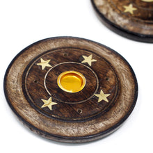 Load image into Gallery viewer, Ancient Wisdom 10cm Mango Wood Cone & Incense Disc Holder
