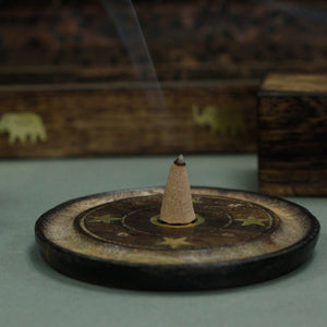 Ancient Wisdom 10cm Mango Wood Cone & Incense Disc Holder