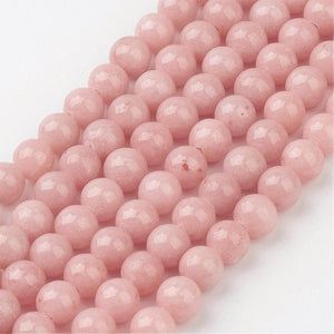 Strand of Light Pink Mashan Jade 6mm Plain Round Beads