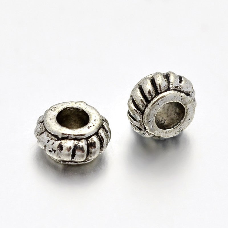 Pack of 30 Tibetan Style Alloy Rondelle Spacers - 4 x 2mm