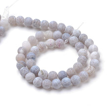 Load image into Gallery viewer, Strand Of 62+ Light Grey Frosted Cracked Agate 6mm Plain Round Beads