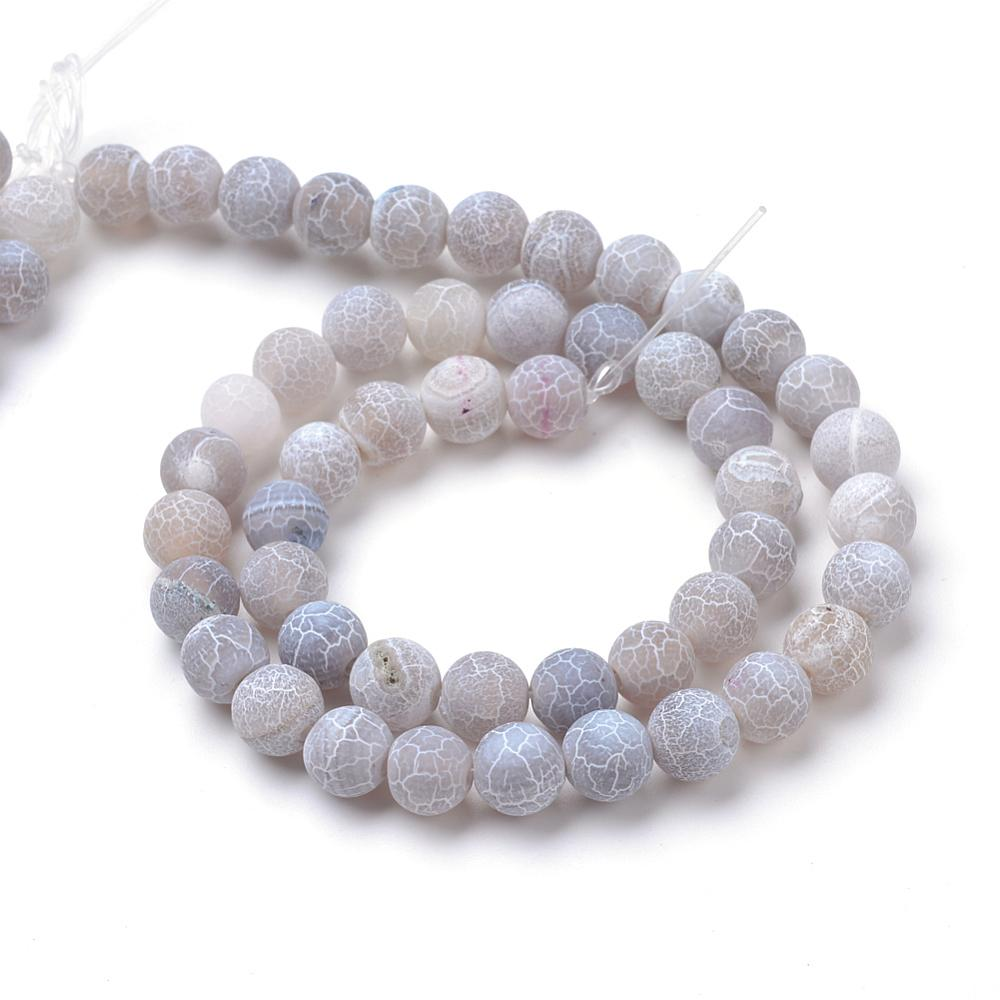 Strand Of 62+ Light Grey Frosted Cracked Agate 6mm Plain Round Beads