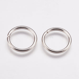 Iron Open Jump Rings, Platinum Colour, 15mm, Pack of 100
