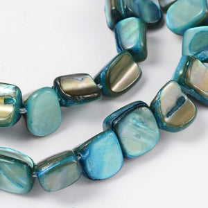 Strand of Shell Beads, Dyed Cyan , 8 x 8mm
