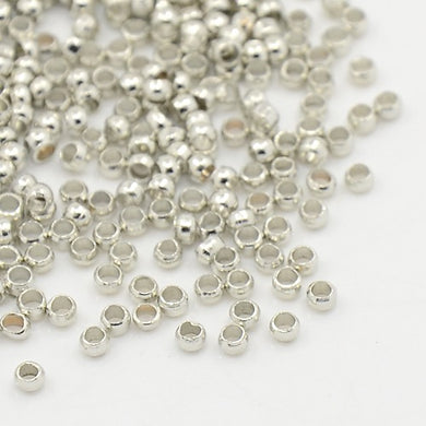 500 pieces Silver Plated 1.5mm-2mm Round Crimp Stopper Beads