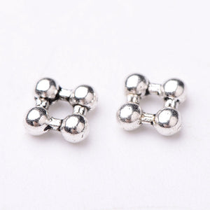 Pack of 40 Tibetan Style Square Antique Silver Flower Spacer Beads