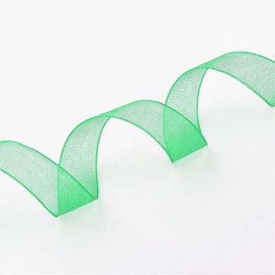Sheer Organza Ribbon 12mm Green - 45 Mtr Roll