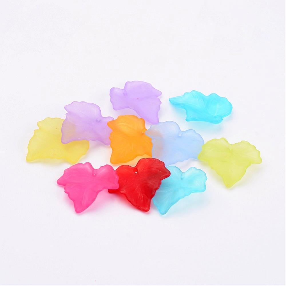 Mixed Lucite 24 x 23mm Leaf Beads Pack Of 40+