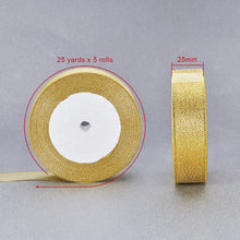 Load image into Gallery viewer, Metallic Ribbon, Sparkle Ribbon, Gold 25mm - 25 Yards Roll