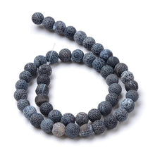 Load image into Gallery viewer, Strand Of 62+ Black Frosted Cracked Agate 6mm Plain Round Beads