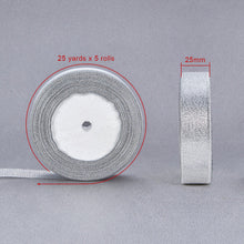 Load image into Gallery viewer, Metallic Ribbon, Sparkle Ribbon, Silver 25mm - 25 Yards Roll