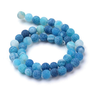 Strand Of 62+ Blue Frosted Cracked Agate 6mm Plain Round Beads