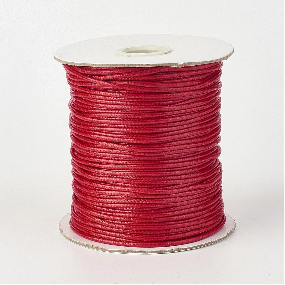 1 x Firebrick Red Waxed Polyester 10 Metre x 1mm Thong Cord