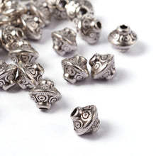 Load image into Gallery viewer, Pack of 20 Tibetan Style Bicone Antique Silver 6mm Spacer Beads