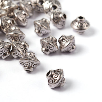 Pack of 20 Tibetan Style Bicone Antique Silver 6mm Spacer Beads