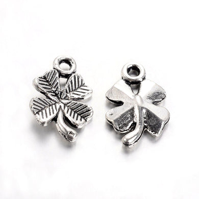 Pack of 20 Tibetan Style Antique Silver 15mm Clover Charms