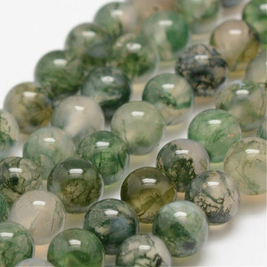 Strand Of 60+ Green Moss Agate 6mm Plain Round Beads