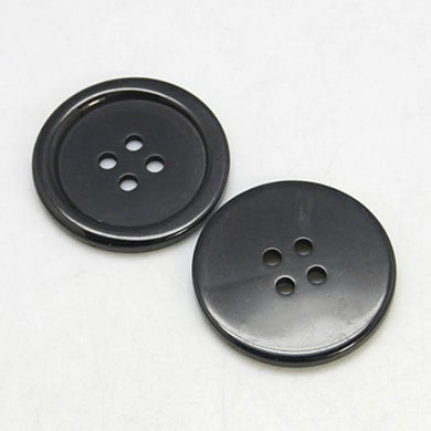 Packet of 20 x Black Resin 20mm Round Buttons (4 Hole)