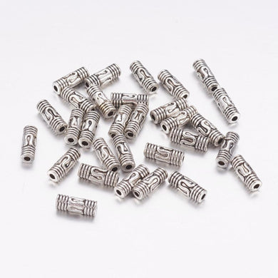 Pack of 30 Tibetan Style 8mm Antique Silver Column Spacer Beads