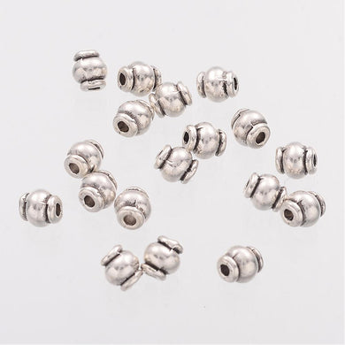 Pack of 50 Tibetan Style Barrel Spacer Beads - 4.5mm