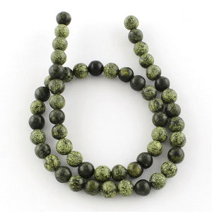 "15"" Strand Green Lace Stone 6mm Round Gemstone Beads"